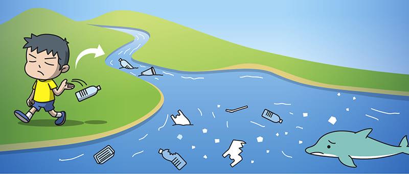 ゴミをポイ捨てする人のイラスト